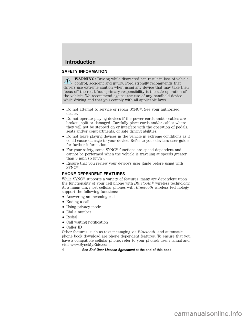 LINCOLN MKT 2011  SYNC Supplement Manual, Page 5