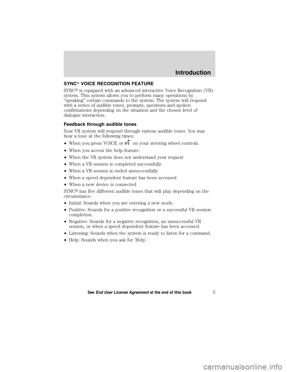LINCOLN MKT 2011  SYNC Supplement Manual, Page 6