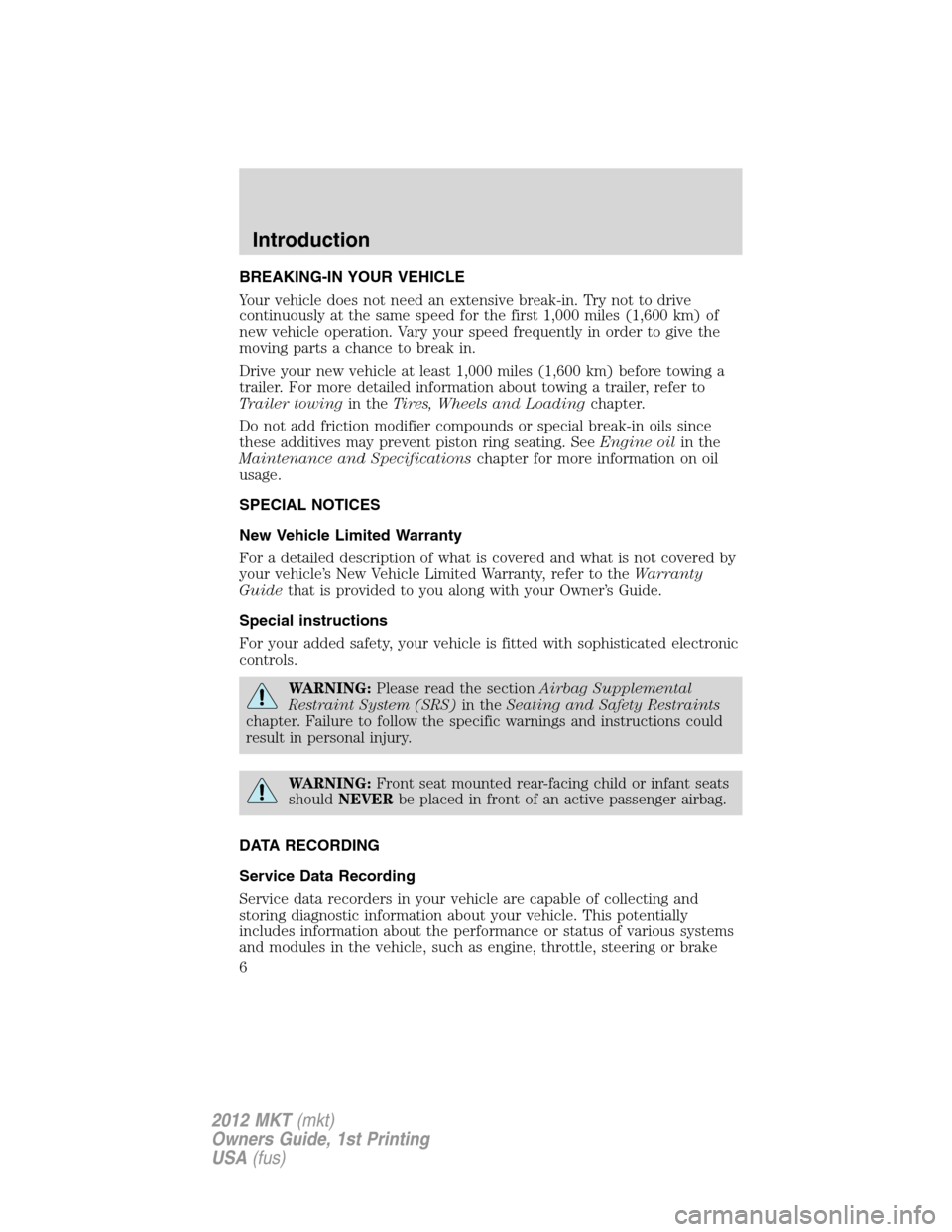 LINCOLN MKT 2012  Owners Manual, Page 6