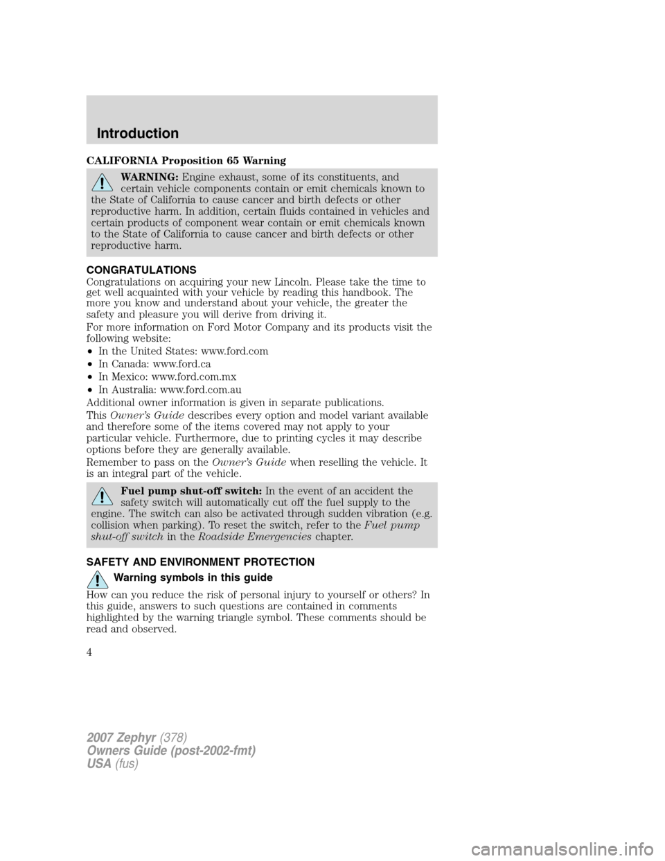 lincoln mkz 2007 owners manual rh carmanualsonline info 2010 lincoln mkz owners manual pdf 2007 lincoln mkz owner's manual pdf