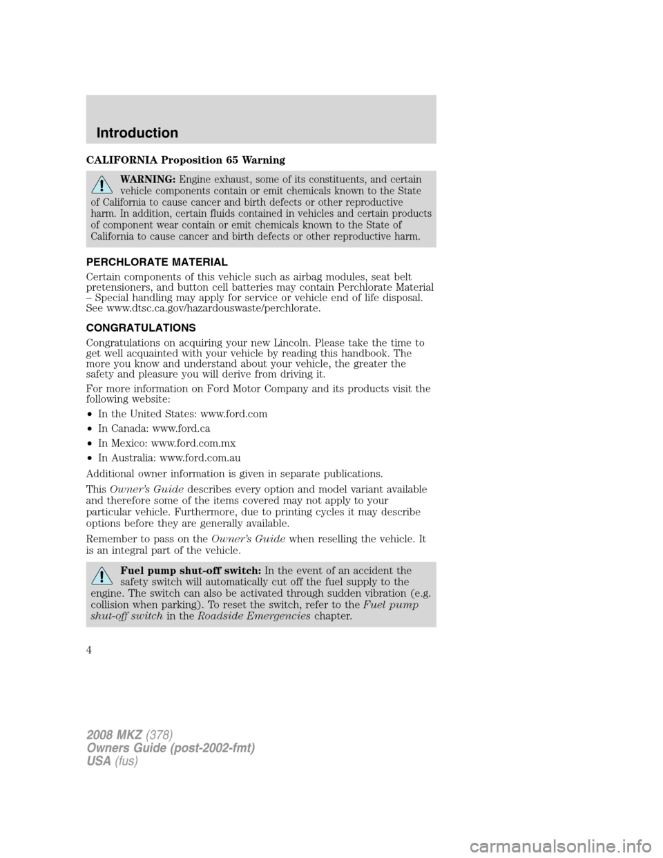 LINCOLN MKZ 2008  Owners Manual, Page 4