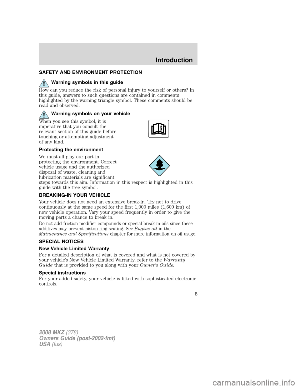LINCOLN MKZ 2008  Owners Manual, Page 5