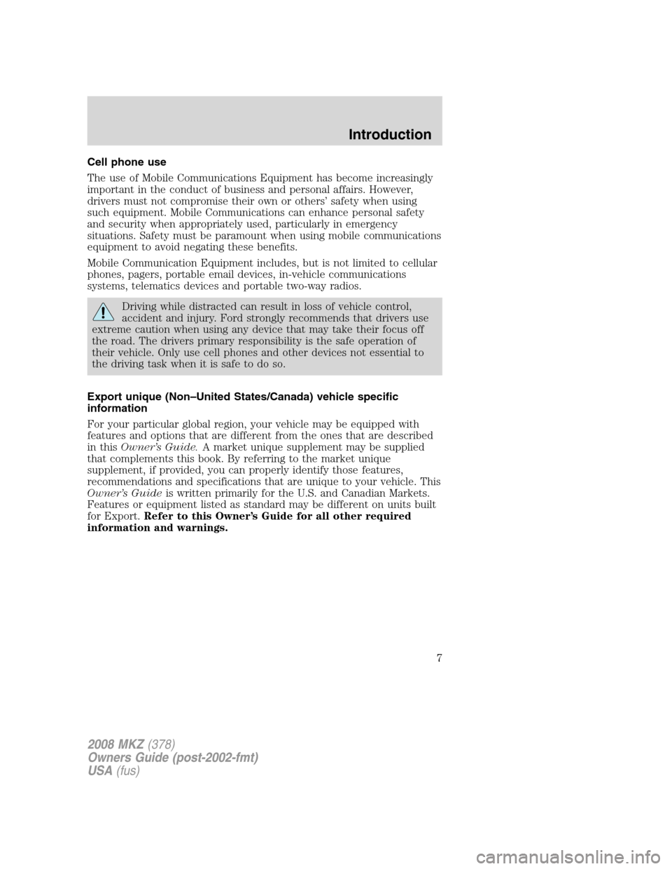 LINCOLN MKZ 2008  Owners Manual, Page 7