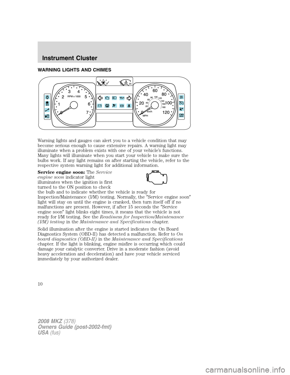 LINCOLN MKZ 2008  Owners Manual, Page 10