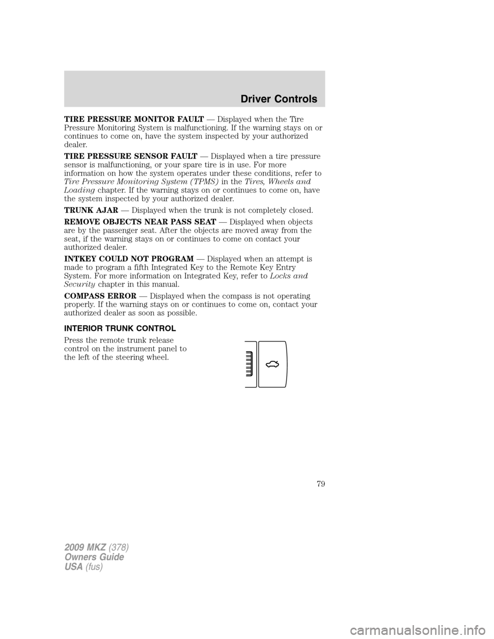 2008 lincoln mkz owners manual