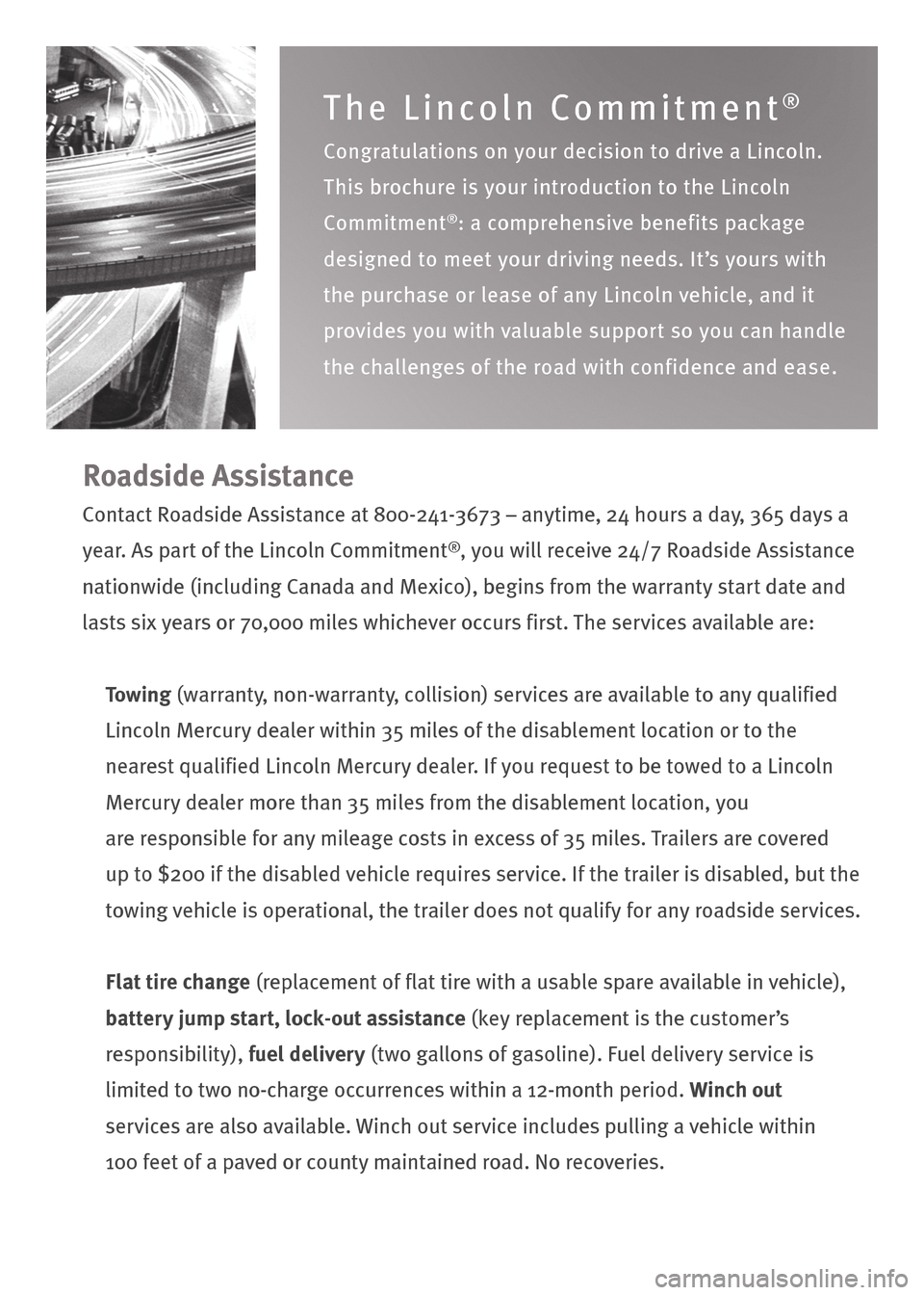 LINCOLN NAVIGATOR 2009  Roadside Assistance Card, Page 2