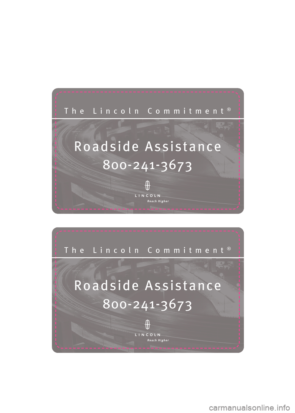 LINCOLN NAVIGATOR 2009  Roadside Assistance Card, Page 6
