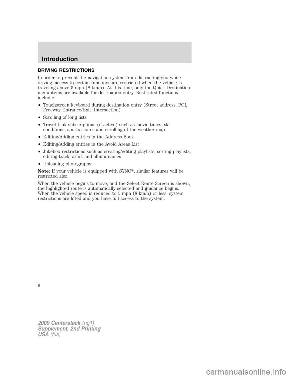 LINCOLN NAVIGATOR 2010  Navigation Manual, Page 7
