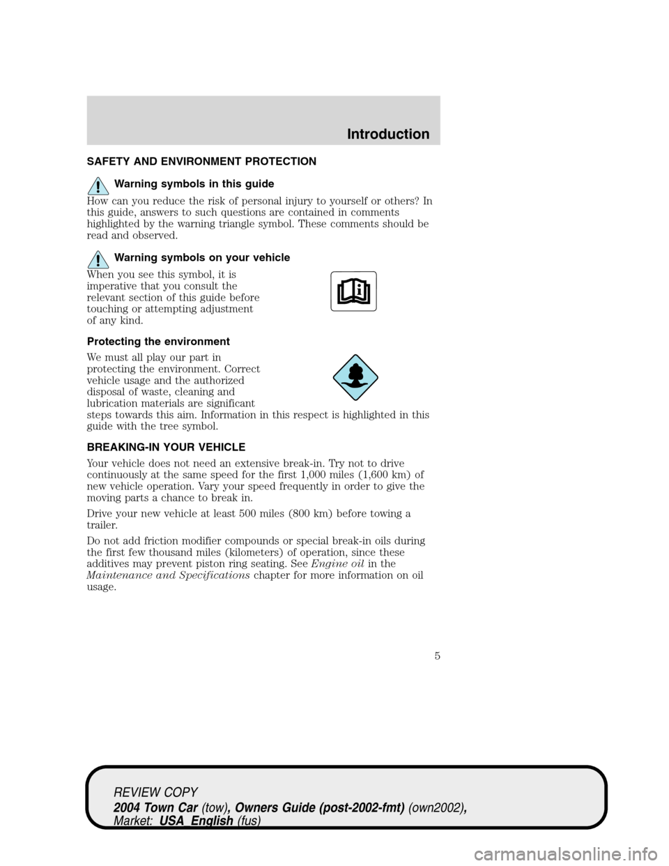 LINCOLN TOWN CAR 2004  Owners Manual, Page 5