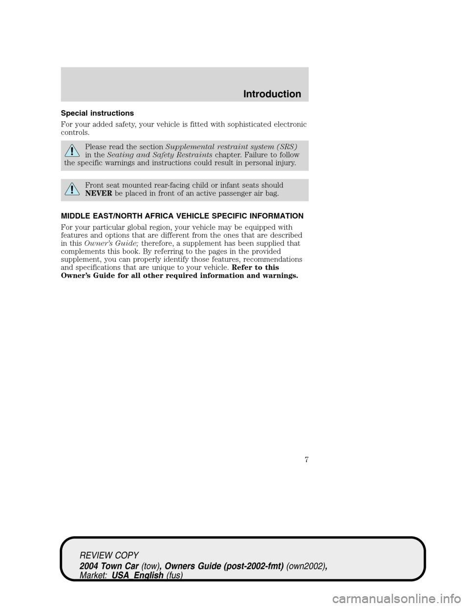 LINCOLN TOWN CAR 2004  Owners Manual, Page 7