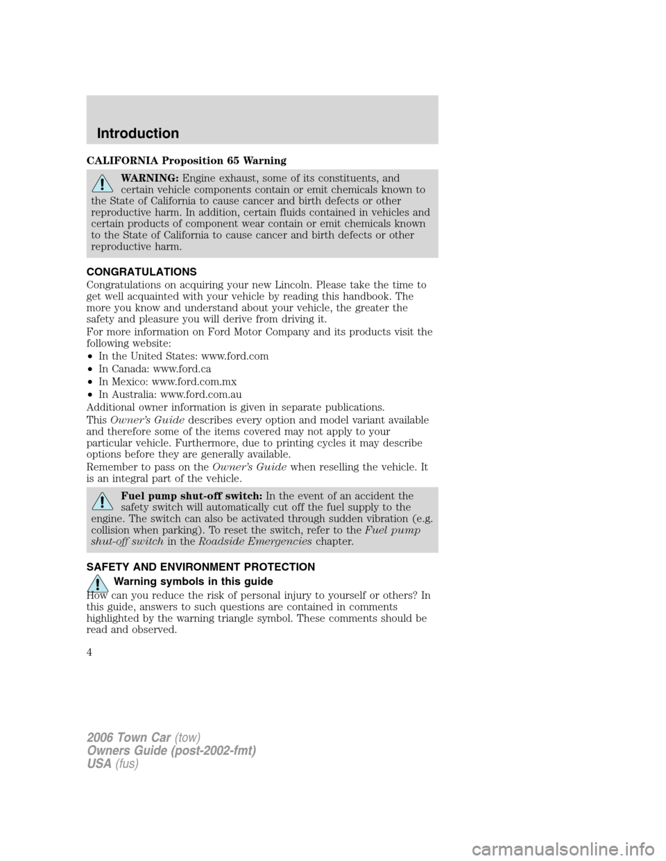 LINCOLN TOWN CAR 2006  Owners Manual, Page 4