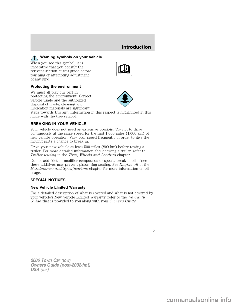 LINCOLN TOWN CAR 2006  Owners Manual, Page 5