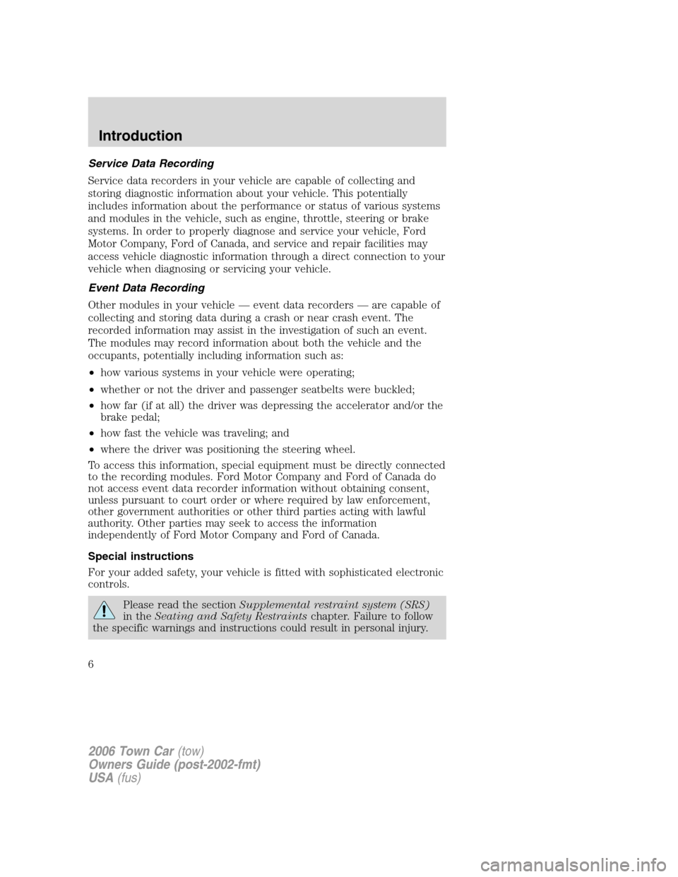 LINCOLN TOWN CAR 2006  Owners Manual, Page 6