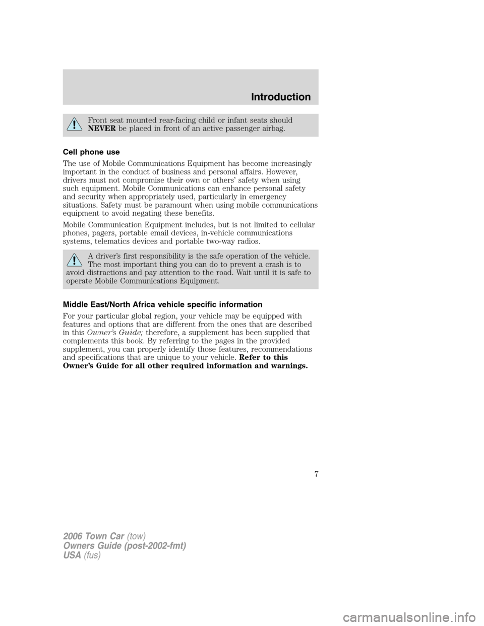 LINCOLN TOWN CAR 2006  Owners Manual, Page 7