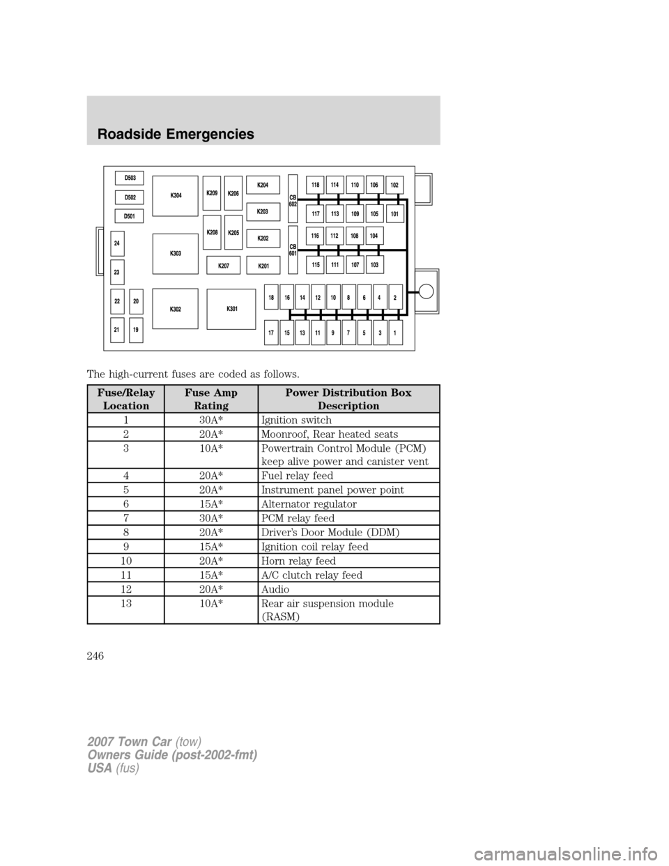 LINCOLN TOWN CAR 2007 Owners Manual, Page 246
