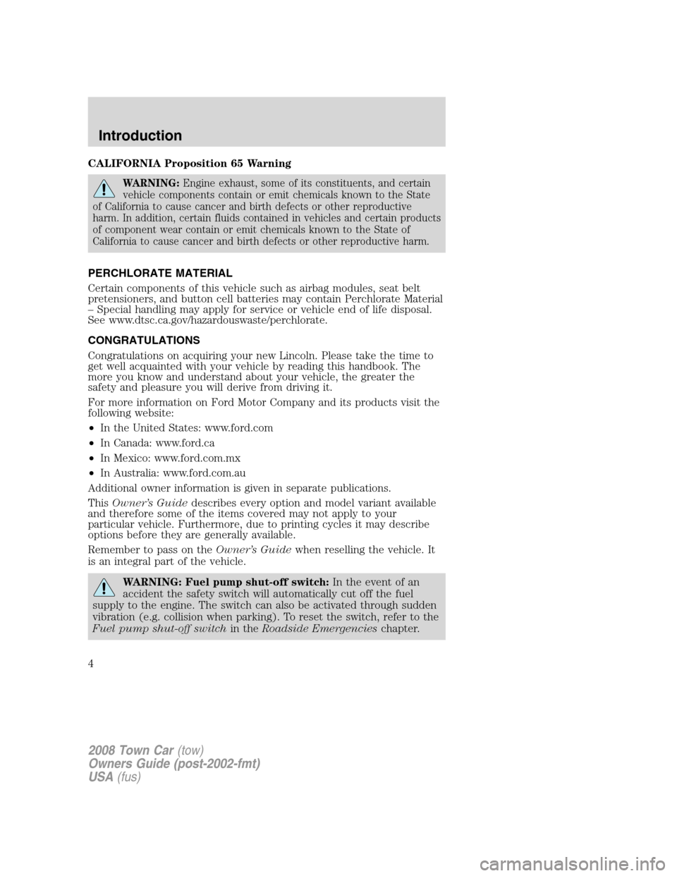 LINCOLN TOWN CAR 2008  Owners Manual, Page 4