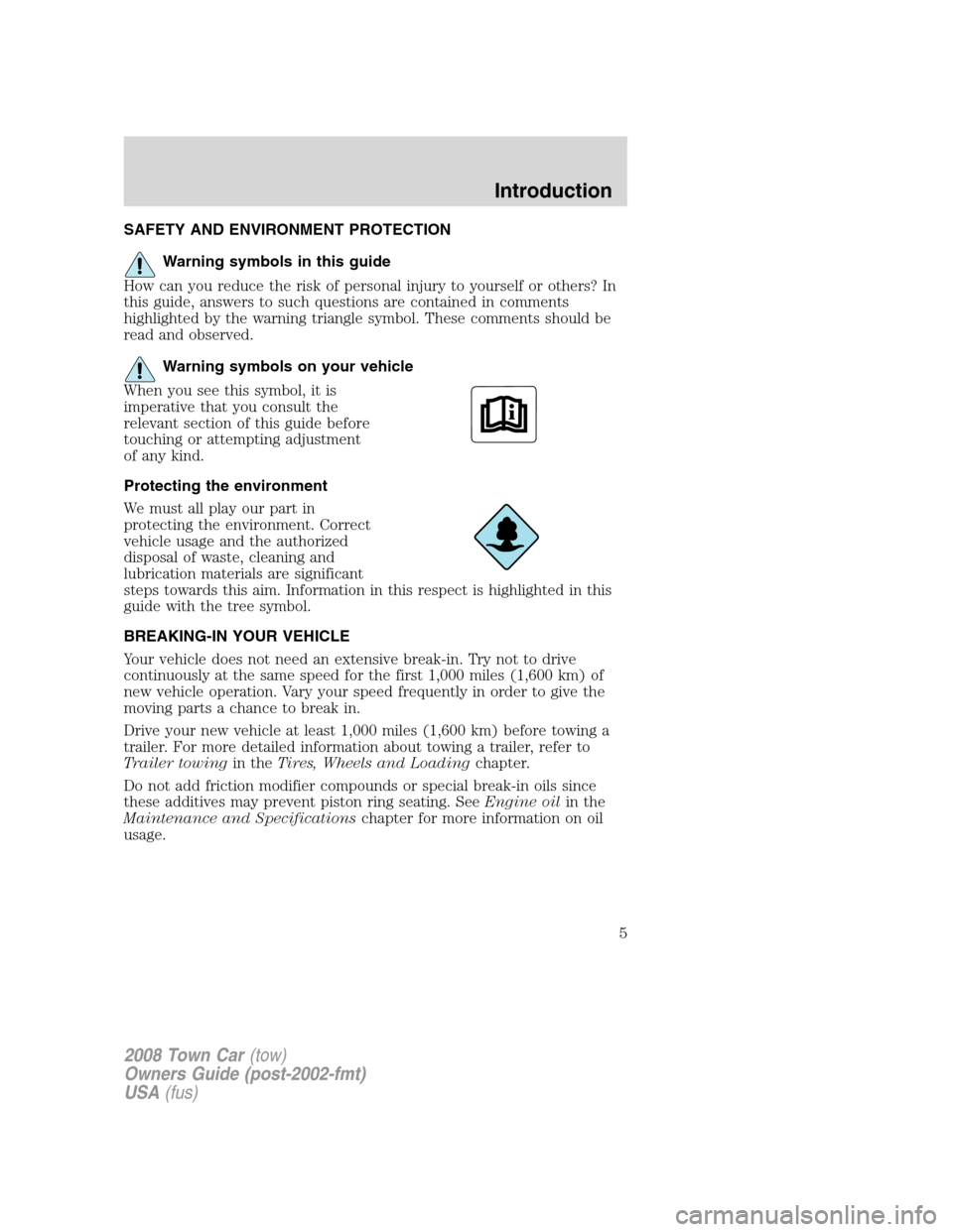LINCOLN TOWN CAR 2008  Owners Manual, Page 5