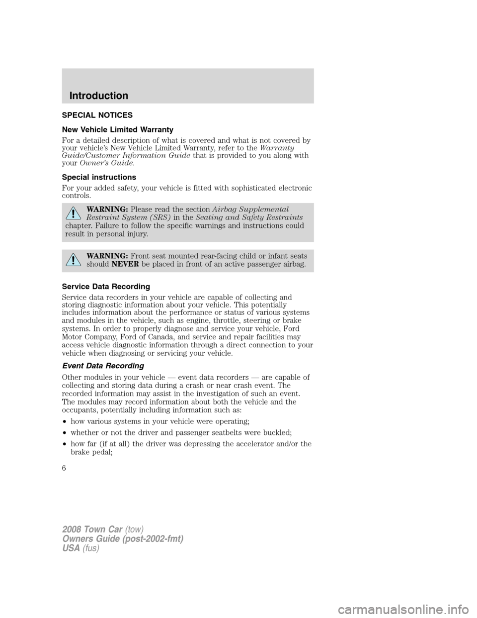 LINCOLN TOWN CAR 2008  Owners Manual, Page 6