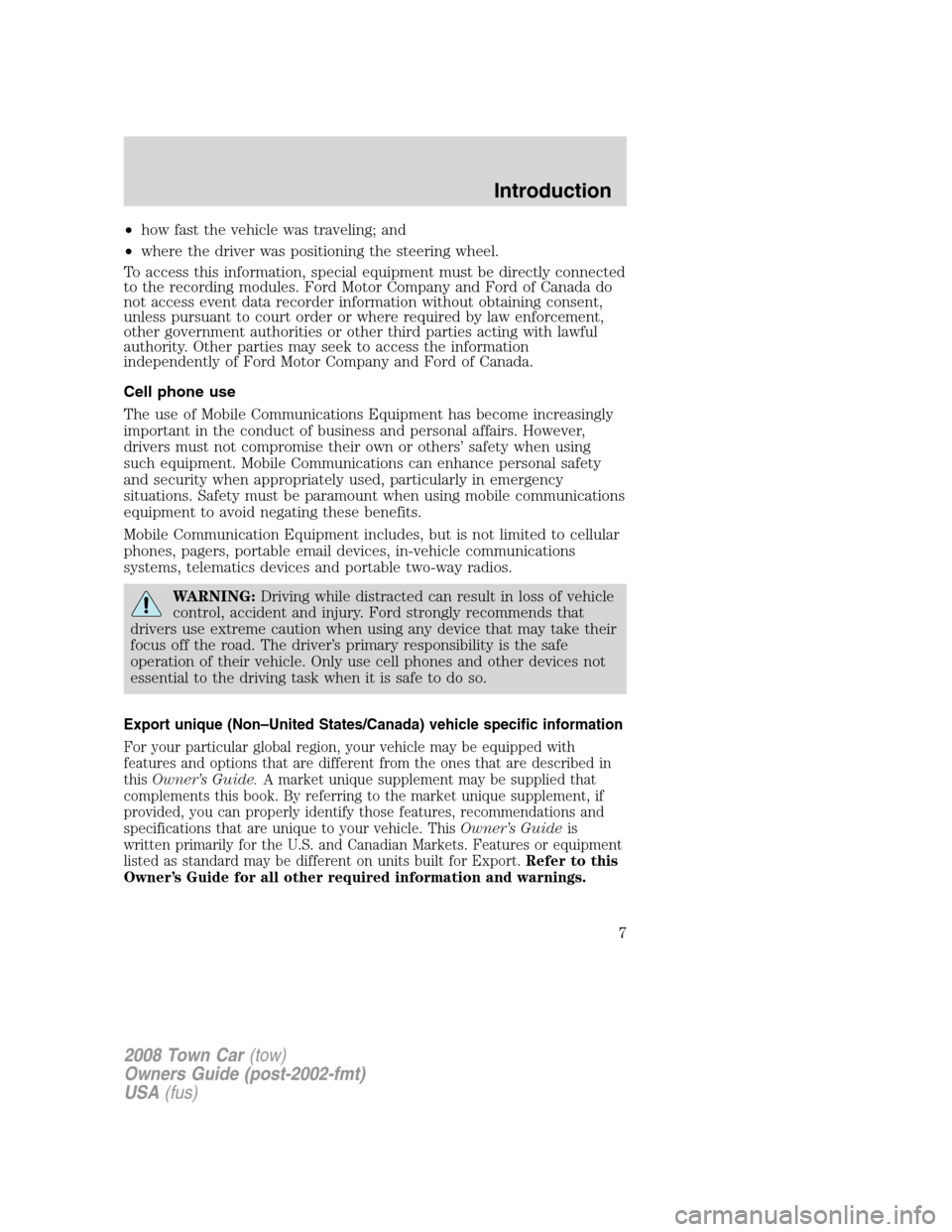 LINCOLN TOWN CAR 2008  Owners Manual, Page 7