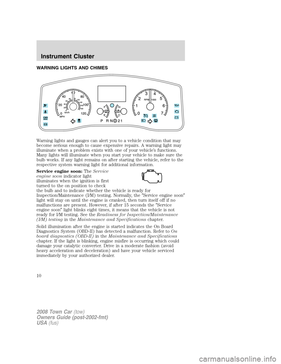 LINCOLN TOWN CAR 2008  Owners Manual, Page 10