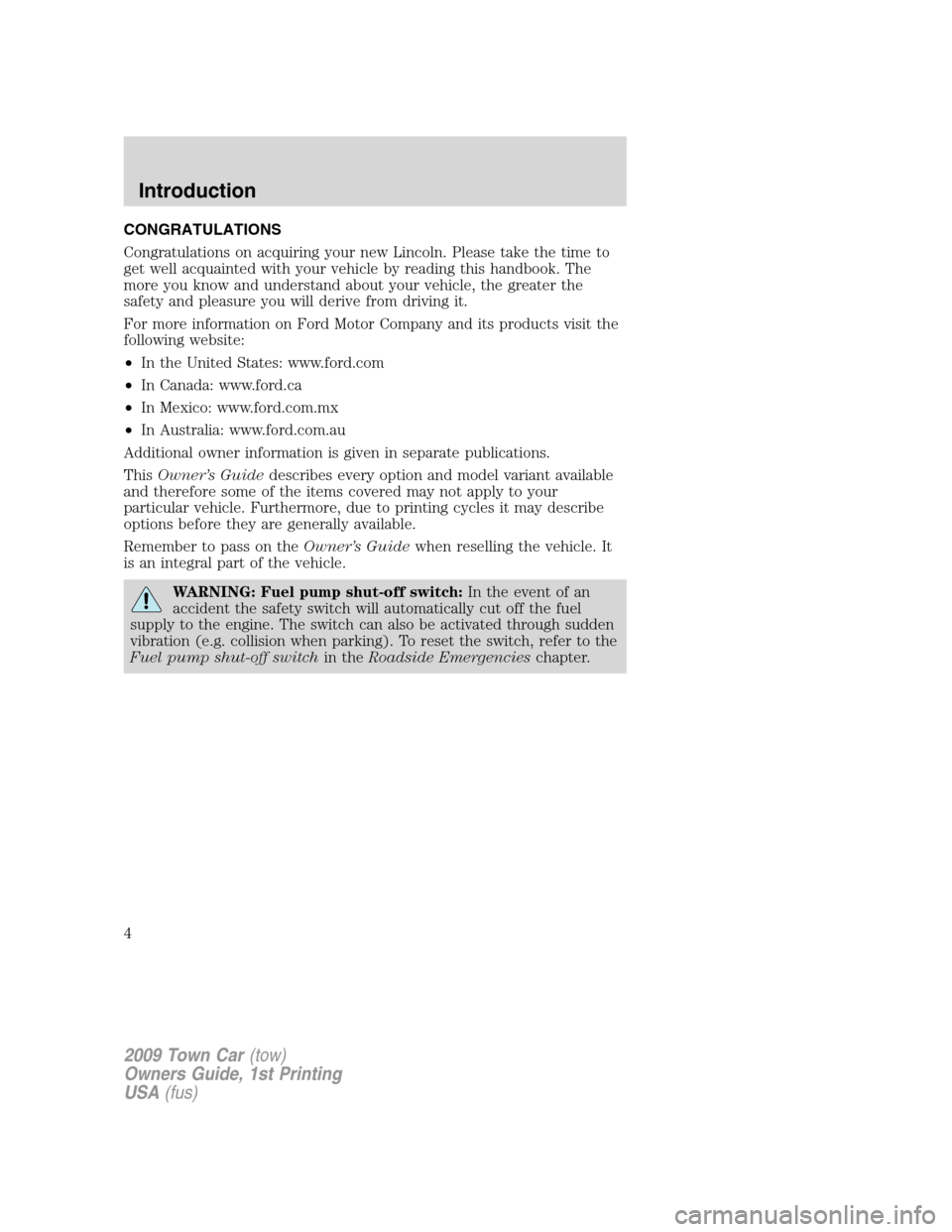 LINCOLN TOWN CAR 2009  Owners Manual, Page 4