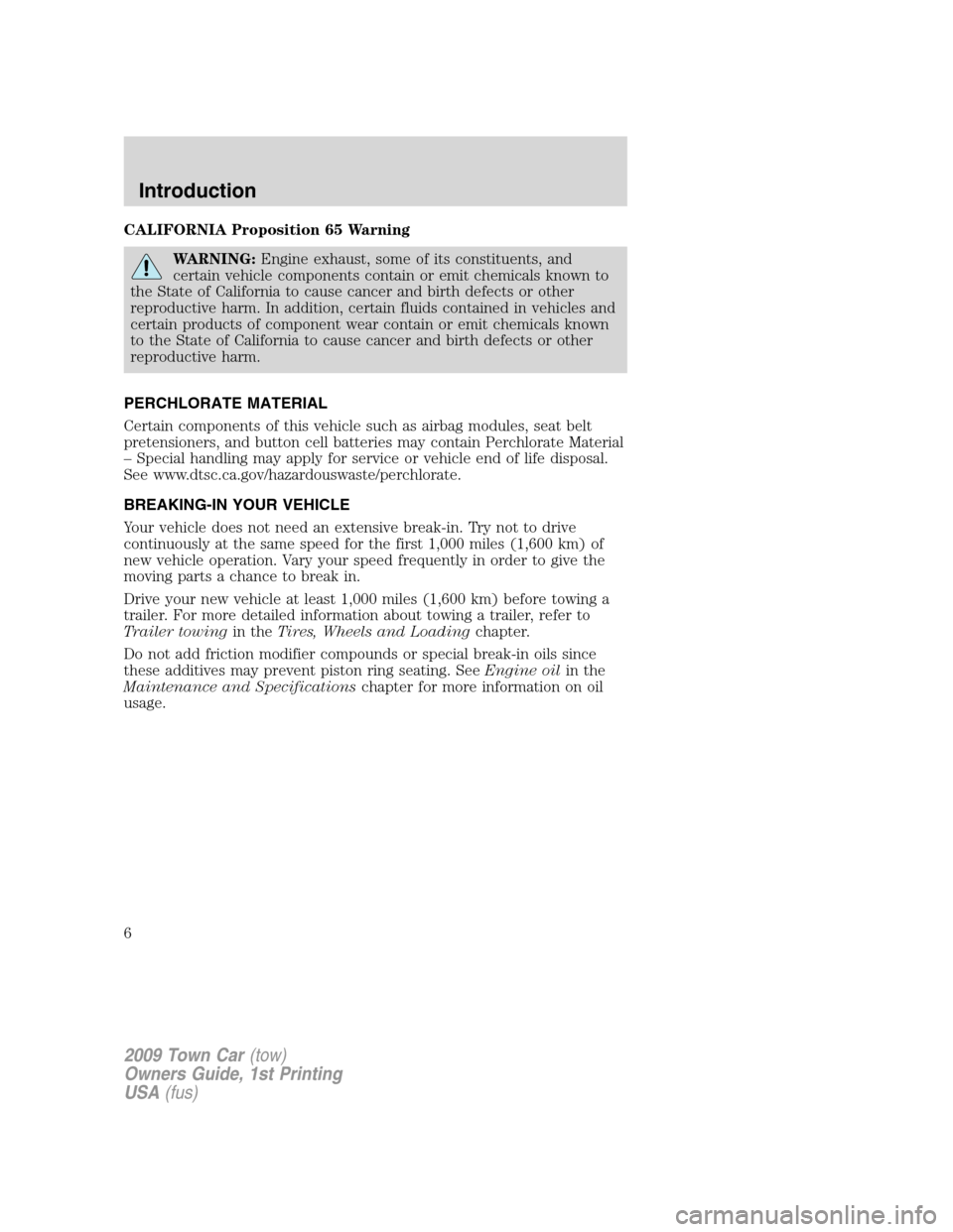 LINCOLN TOWN CAR 2009  Owners Manual, Page 6