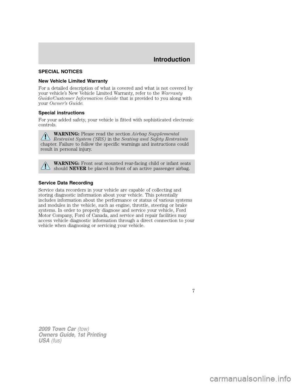 LINCOLN TOWN CAR 2009  Owners Manual, Page 7
