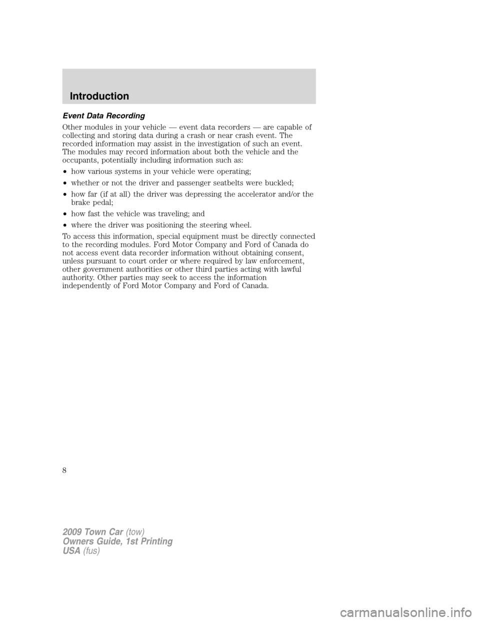 LINCOLN TOWN CAR 2009  Owners Manual, Page 8