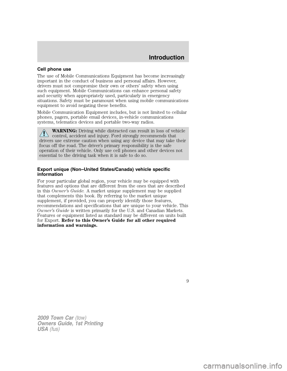 LINCOLN TOWN CAR 2009  Owners Manual, Page 9