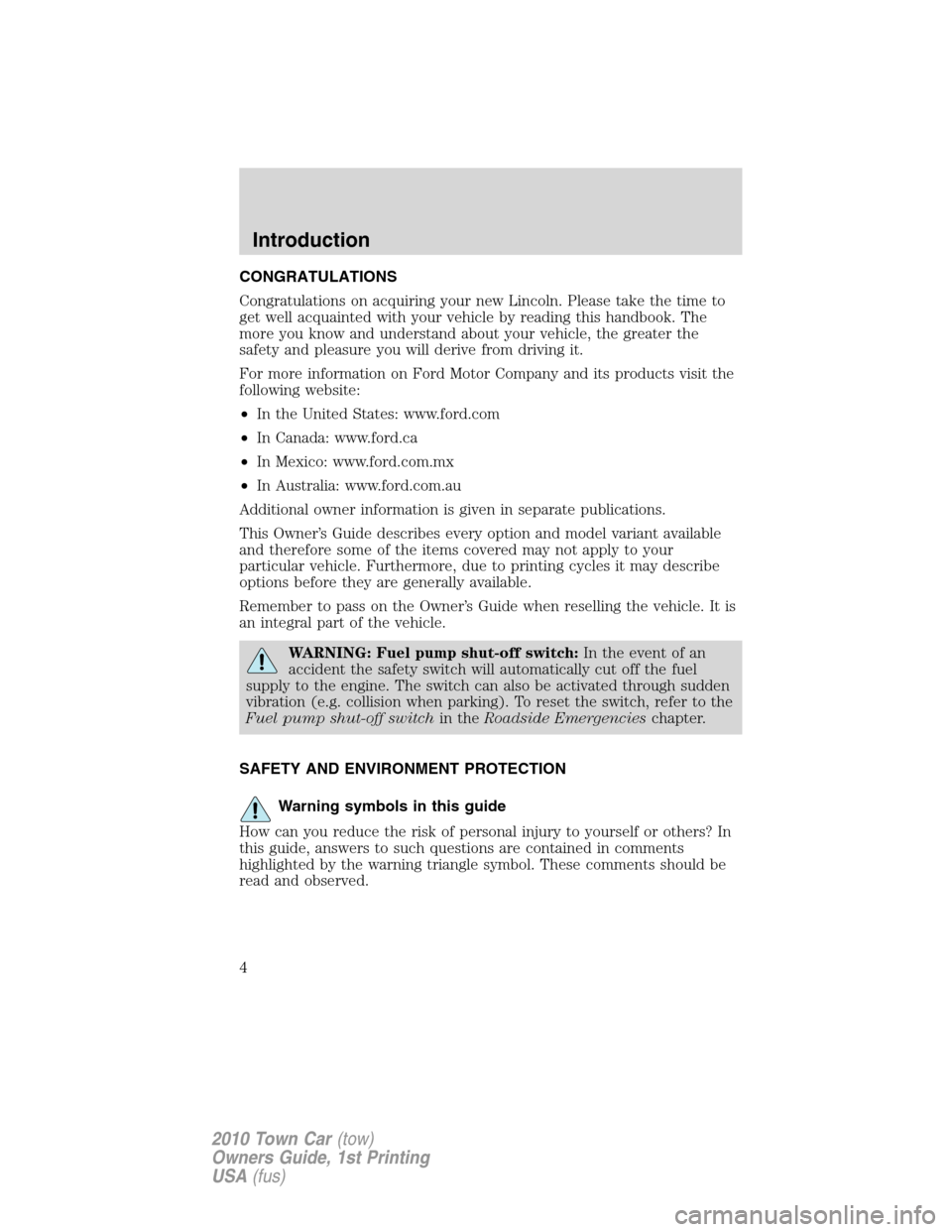 LINCOLN TOWN CAR 2010  Owners Manual, Page 4