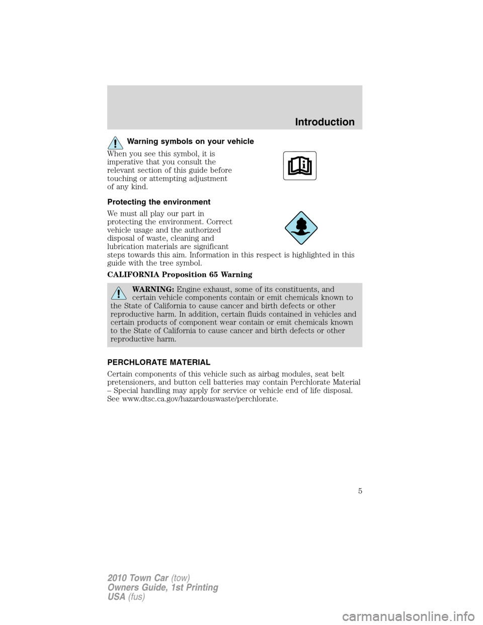 LINCOLN TOWN CAR 2010  Owners Manual, Page 5