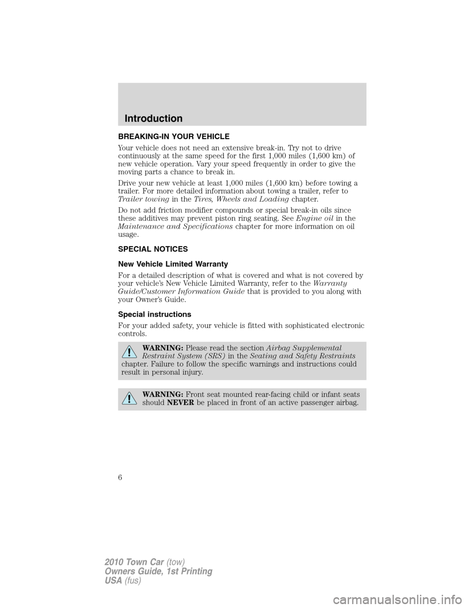 LINCOLN TOWN CAR 2010  Owners Manual, Page 6