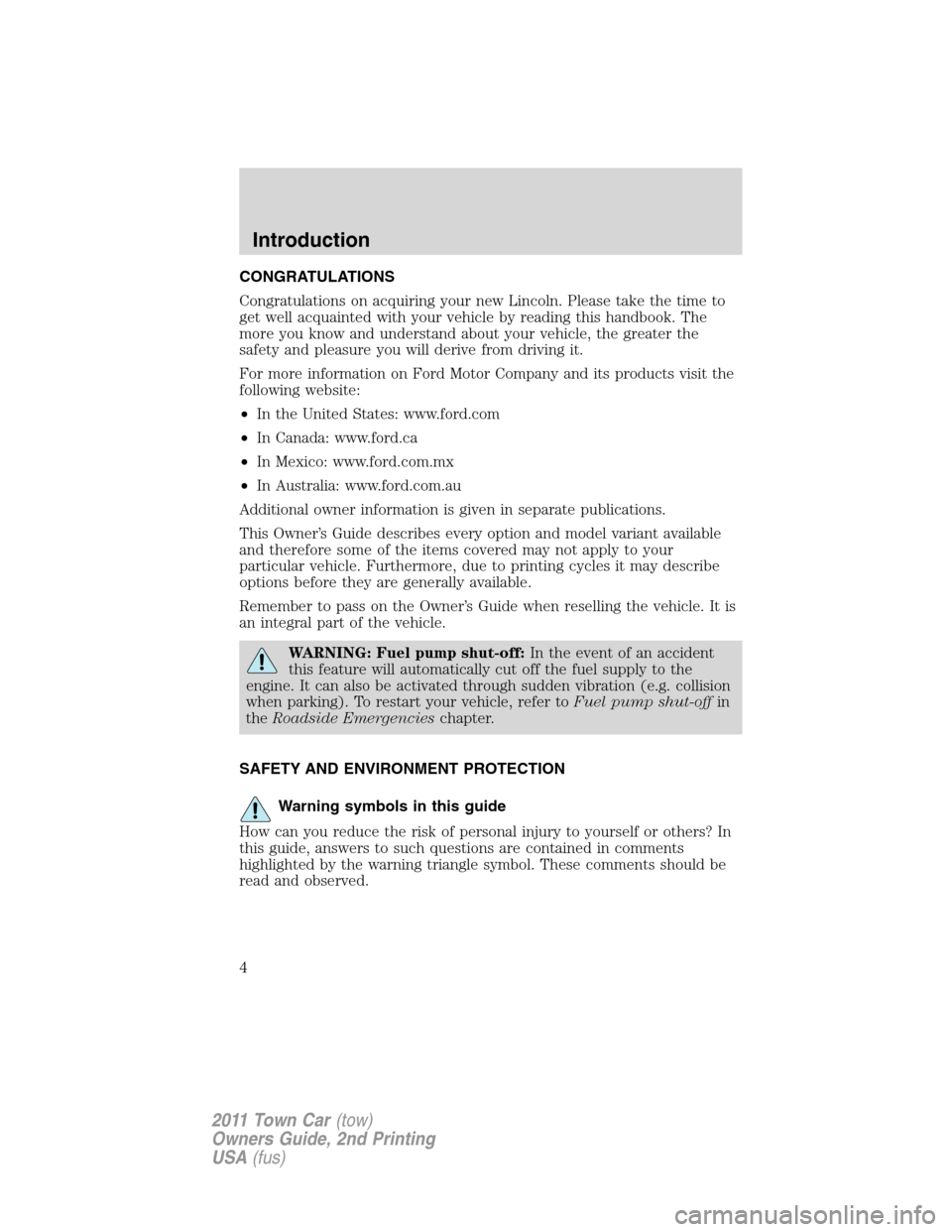LINCOLN TOWN CAR 2011  Owners Manual, Page 4