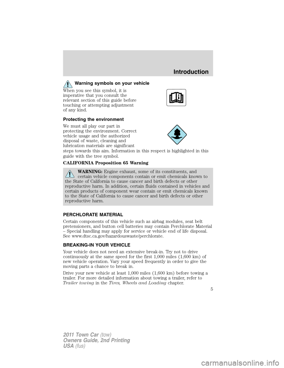 LINCOLN TOWN CAR 2011  Owners Manual, Page 5