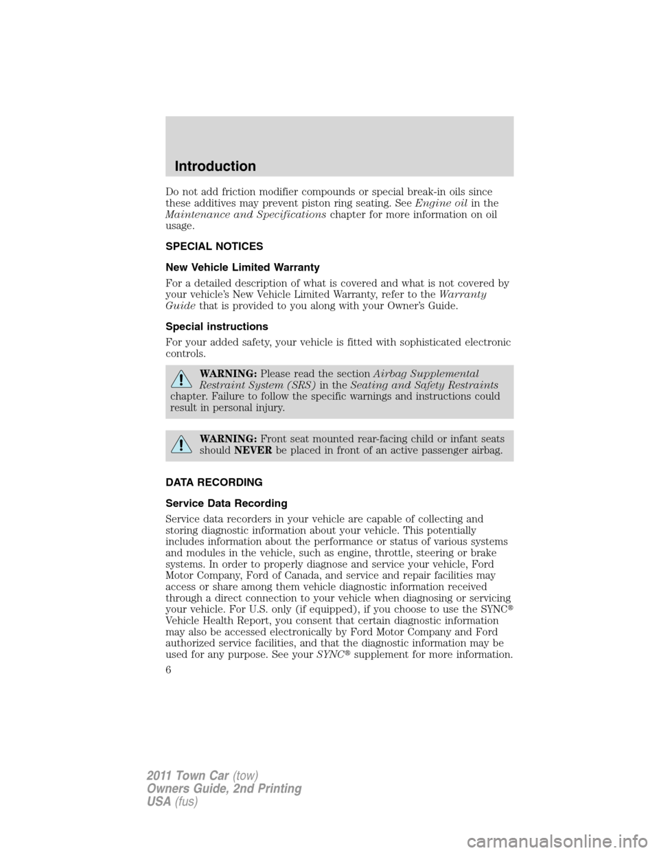 LINCOLN TOWN CAR 2011  Owners Manual, Page 6