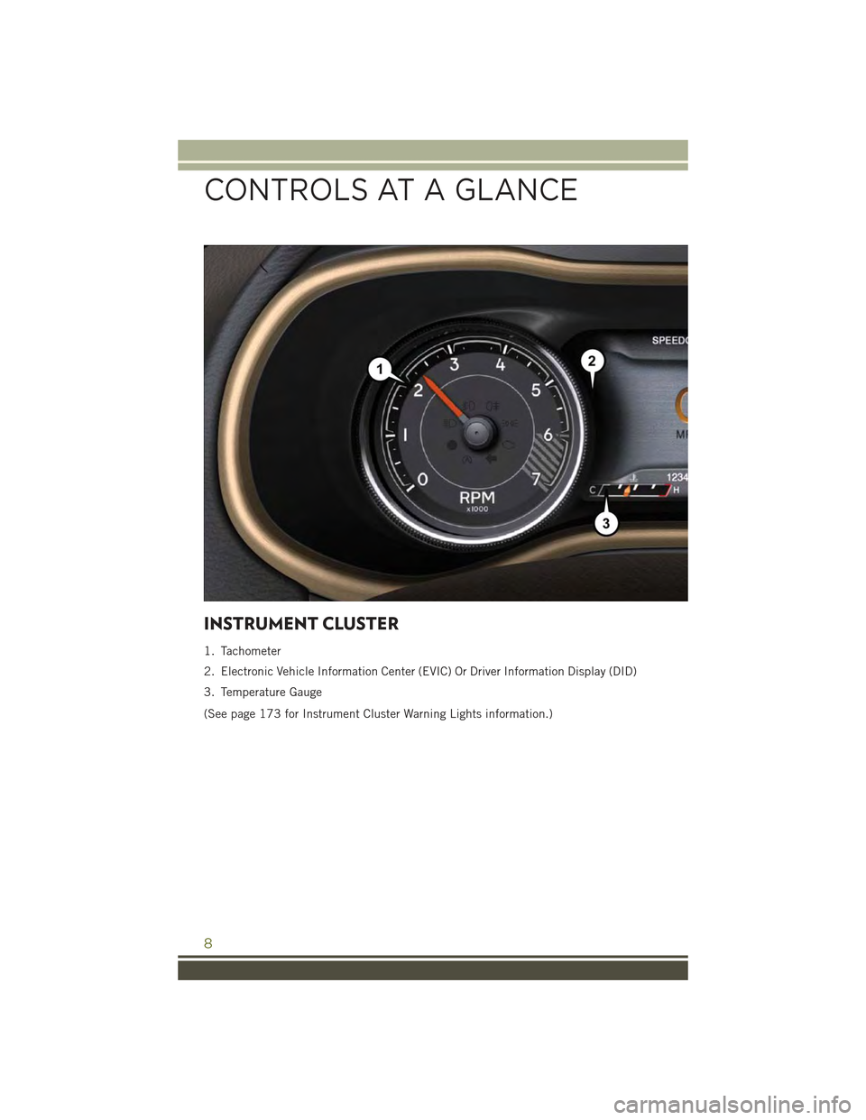 JEEP CHEROKEE 2015 KL / 5.G User Guide INSTRUMENT CLUSTER 1. Tachometer 2. Electronic Vehicle Information Center (EVIC) Or Driver Information Display (DID) 3. Temperature Gauge (See page 173 for Instrument Cluster Warning Lights informatio