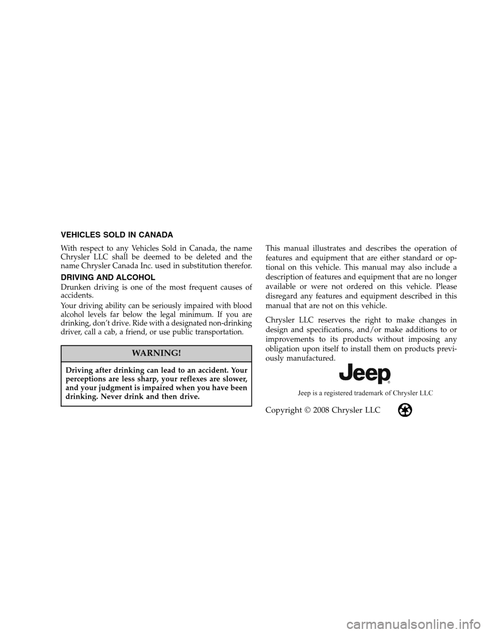 JEEP COMMANDER 2009 1.G Owners Manual, Page 2