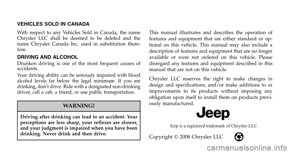JEEP COMPASS 2009 1.G Owners Manual, Page 2