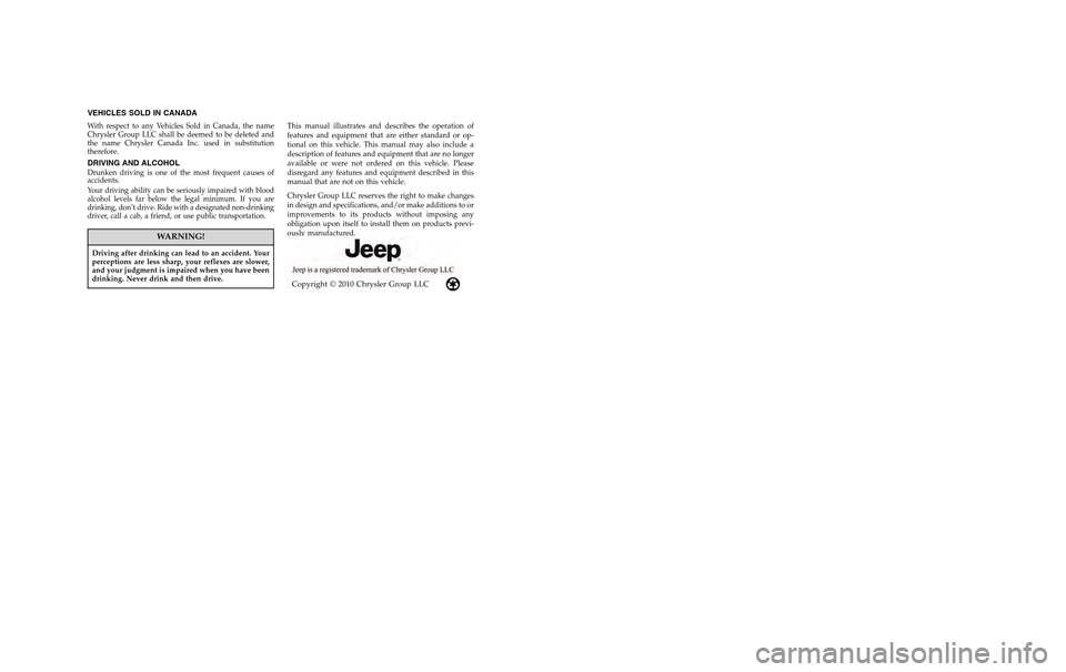 JEEP COMPASS 2011 1.G Owners Manual, Page 2