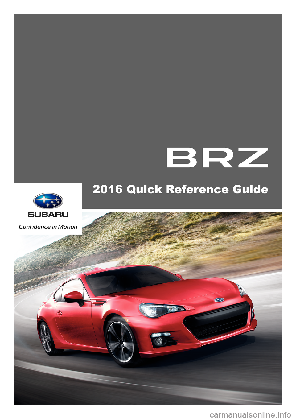 SUBARU BRZ 2016 1.G Quick Reference Guide, Page 1