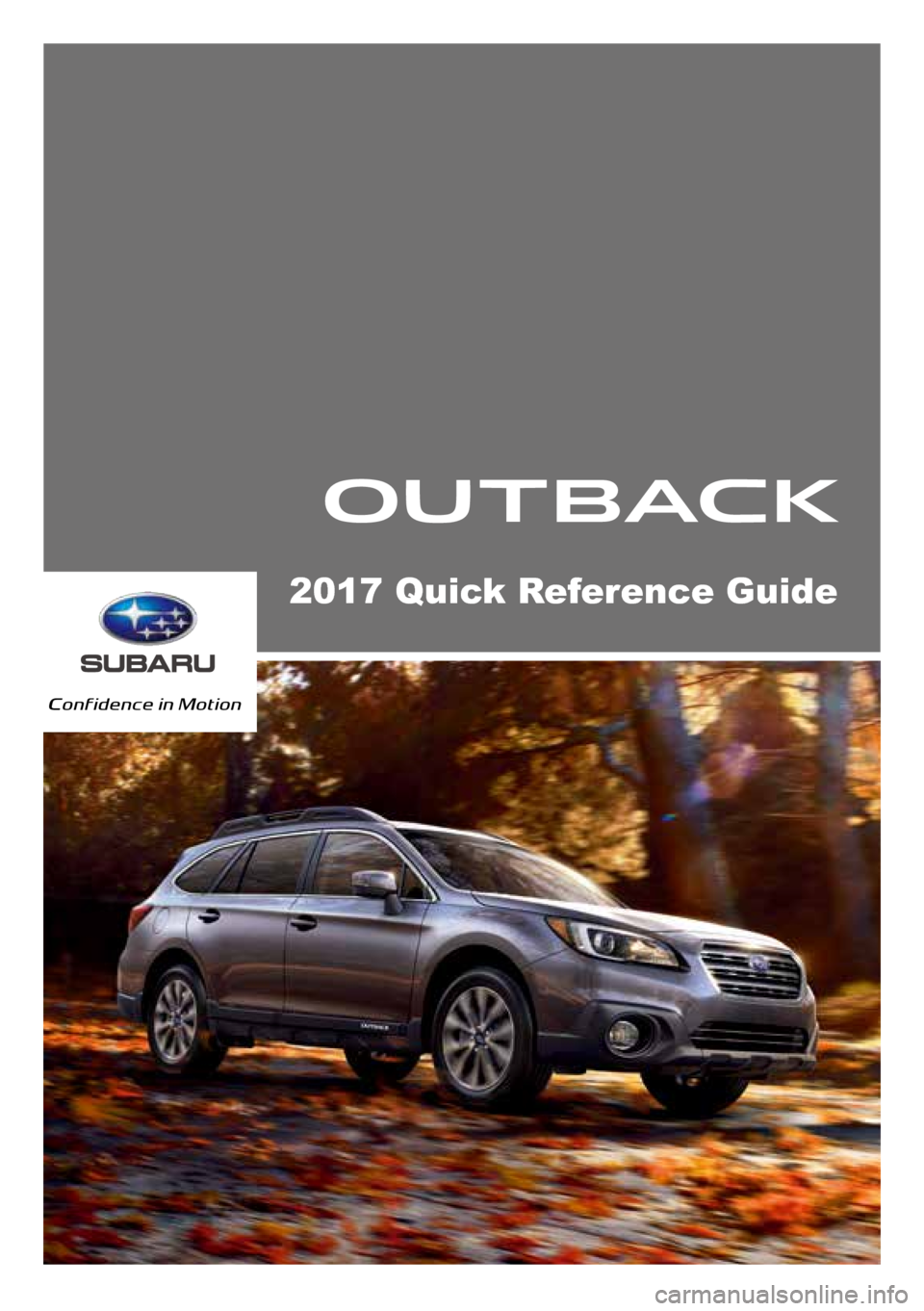 Subaru Outback 2017 6g Quick Reference Guide 2000 Horn