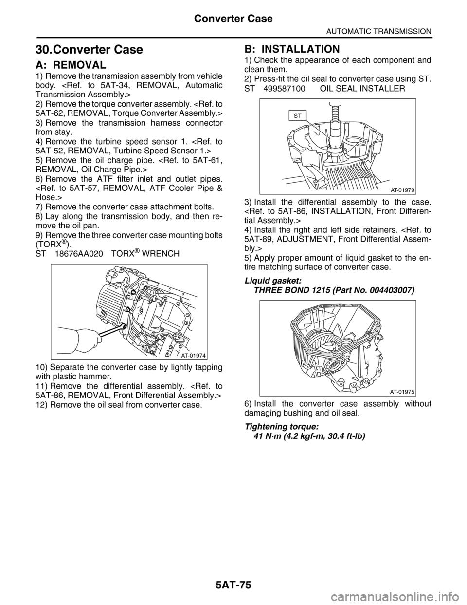 Subaru Tribeca 2009 1g Service Workshop Manual Differential Diagram