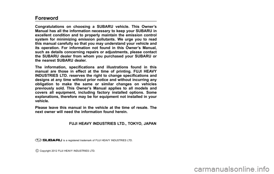 SUBARU TRIBECA 2014 1.G Owners Manual, Page 2