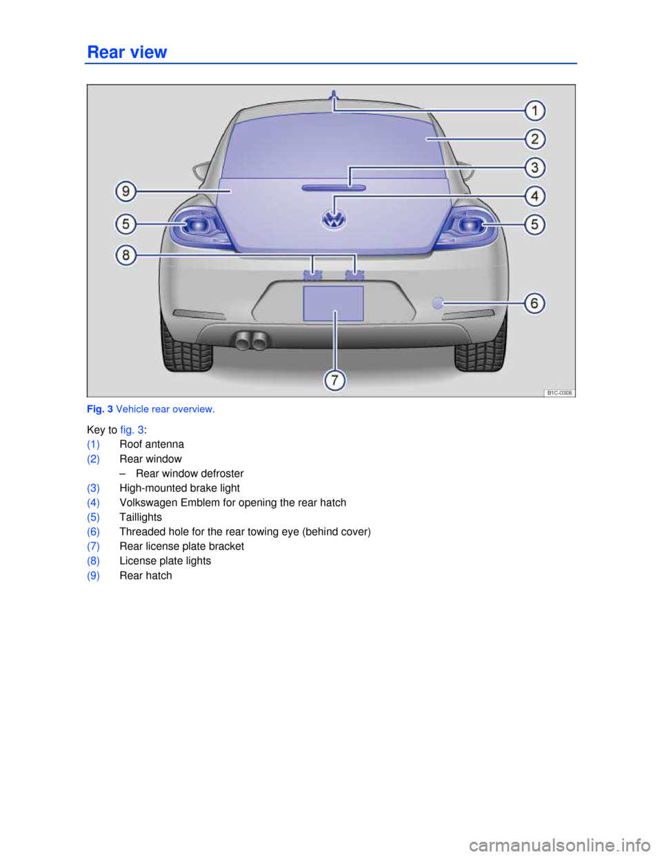 VOLKSWAGEN BEETLE 2013 3.G Owners Manual   Rear view    Fig. 3 Vehicle rear overview.  Key to fig. 3:  (1) Roof antenna   (2) Rear window  –  Rear window defroster   (3) High-mounted brake light  (4) Volkswagen Emblem for opening the rear