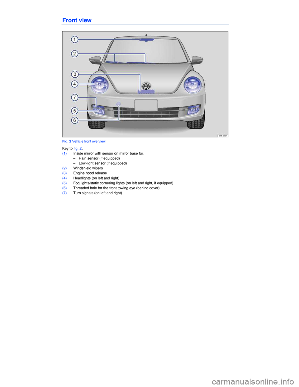 VOLKSWAGEN BEETLE 2015 3.G Owners Manual   Front view    Fig. 2 Vehicle front overview.  Key to fig. 2:  (1) Inside mirror with sensor on mirror base for:  –  Rain sensor (if equipped)   –  Low-light sensor (if equipped)   (2) Windshield