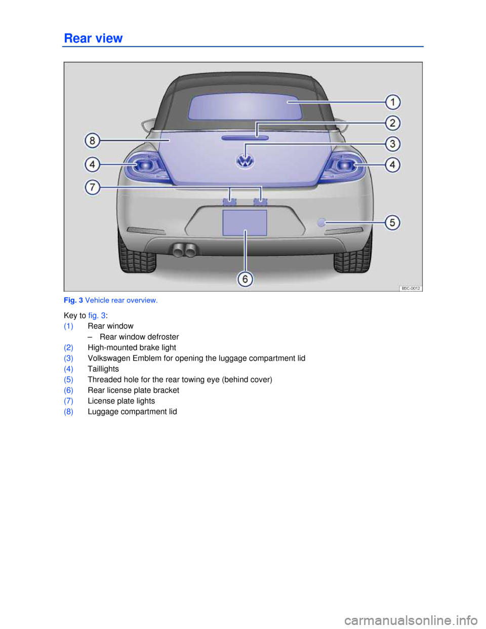 VOLKSWAGEN BEETLE CONVERTIBLE 2013 3.G Owners Manual   Rear view    Fig. 3 Vehicle rear overview.  Key to fig. 3:  (1) Rear window  –  Rear window defroster   (2) High-mounted brake light  (3) Volkswagen Emblem for opening the luggage compartment lid