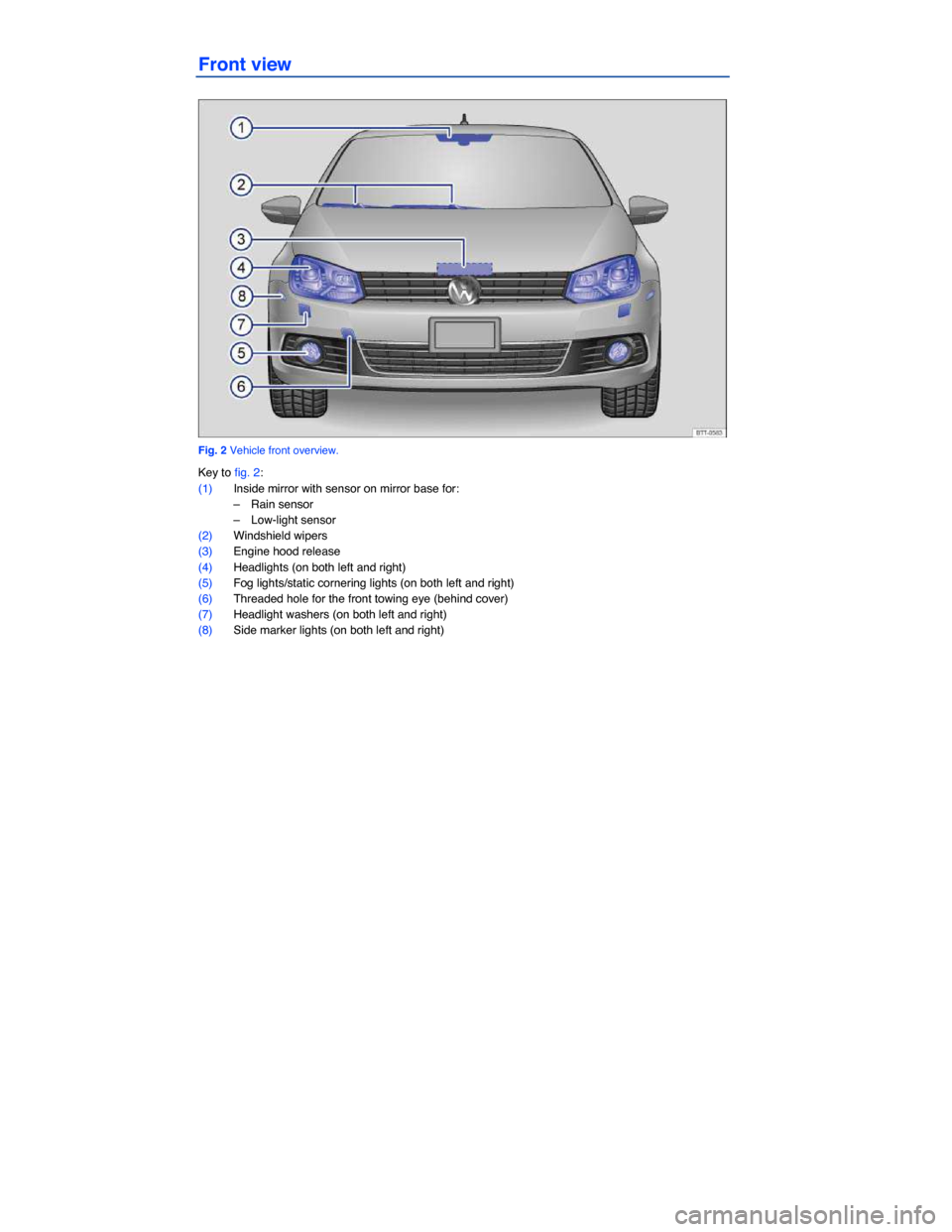 VOLKSWAGEN EOS 2014 1.G Owners Manual     Front view    Fig. 2 Vehicle front overview.  Key to fig. 2:  (1) Inside mirror with sensor on mirror base for:  –  Rain sensor   –  Low-light sensor   (2) Windshield wipers   (3) Engine hood