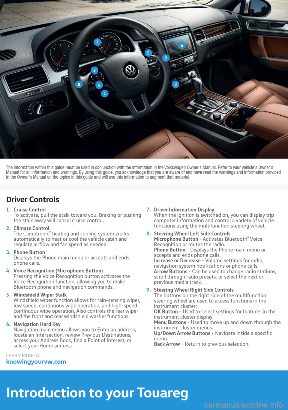 VOLKSWAGEN TOUAREG 2016 2.G Quick Start Guide, Page 2
