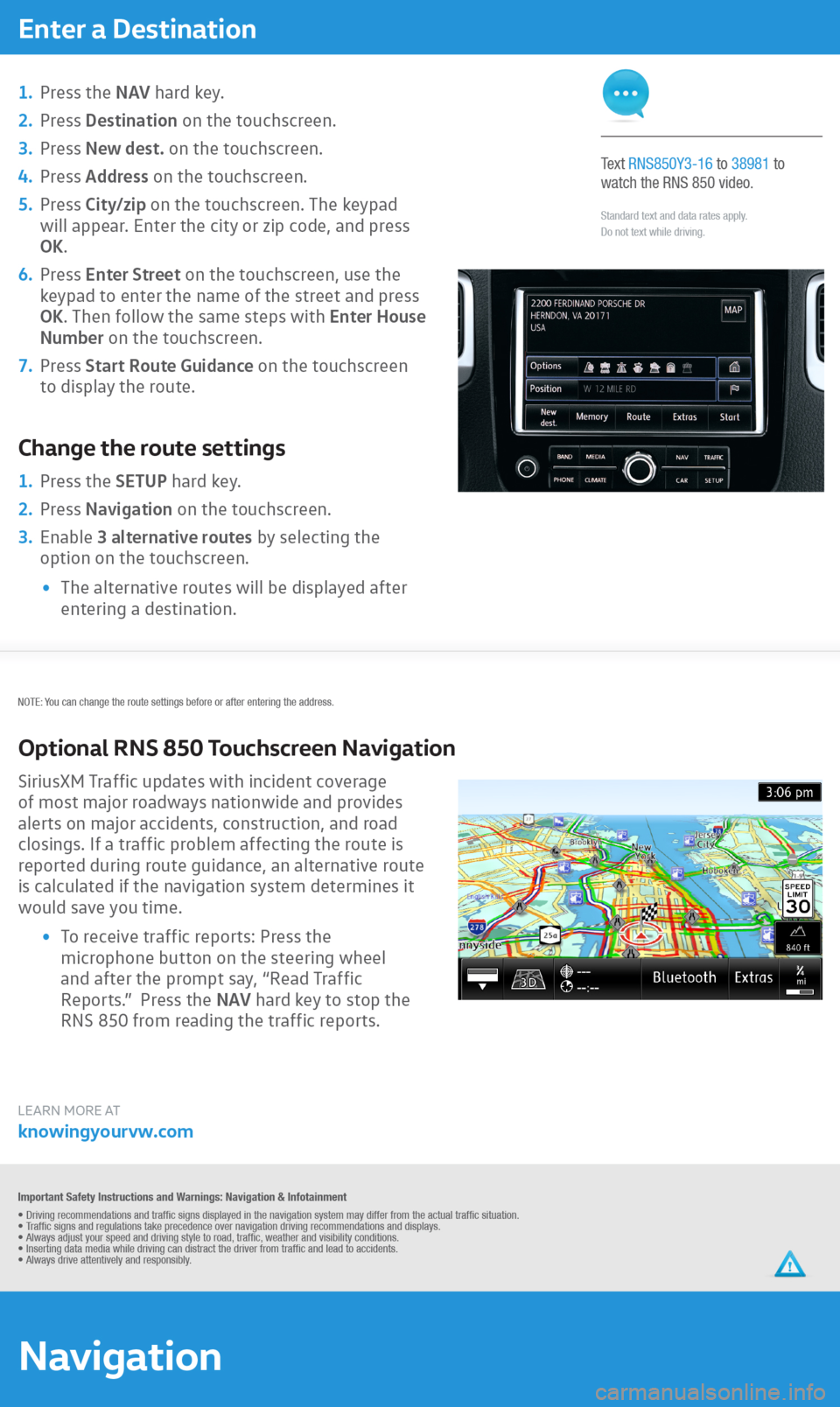 VOLKSWAGEN TOUAREG 2016 2.G Quick Start Guide, Page 3