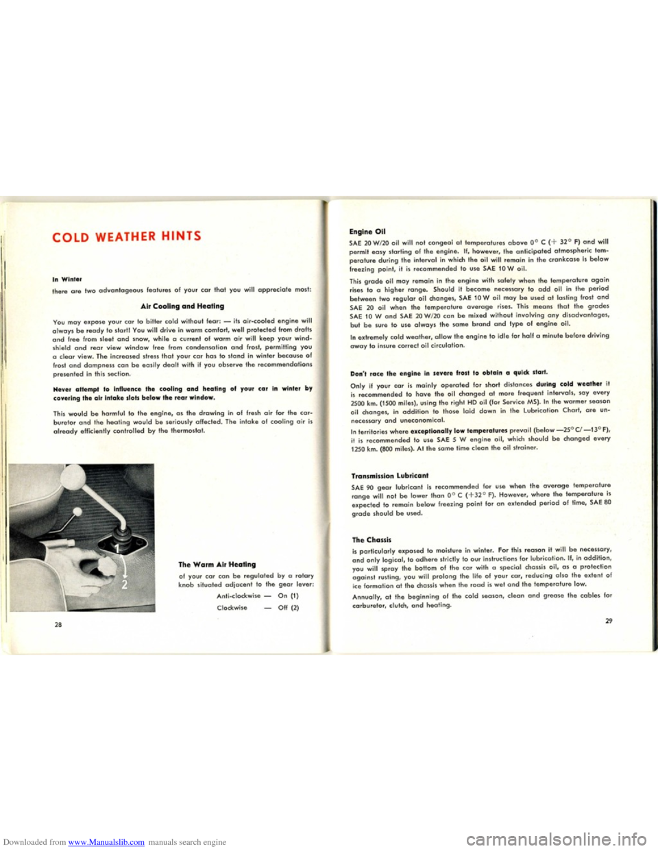 VOLKSWAGEN KARMANN GHIA 1958 1.G Owners Manual, Page 16